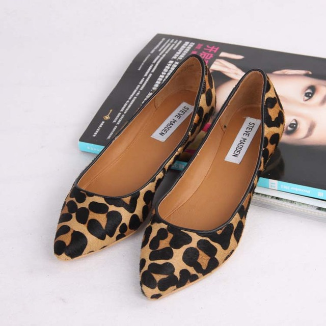 b5503104609 New 2014 Women genuine Leather Pointed Toe Leopard Flat Shoes Comfort Anti-skid  Slip On Woman Shoes