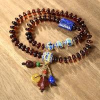 Pure Handmade String Beads Bracelet Natural Amber Abacus Beads Tassel Bracelet Factory Direct Wholesale