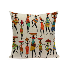 Decorative Cushion Cover with African Girls Print