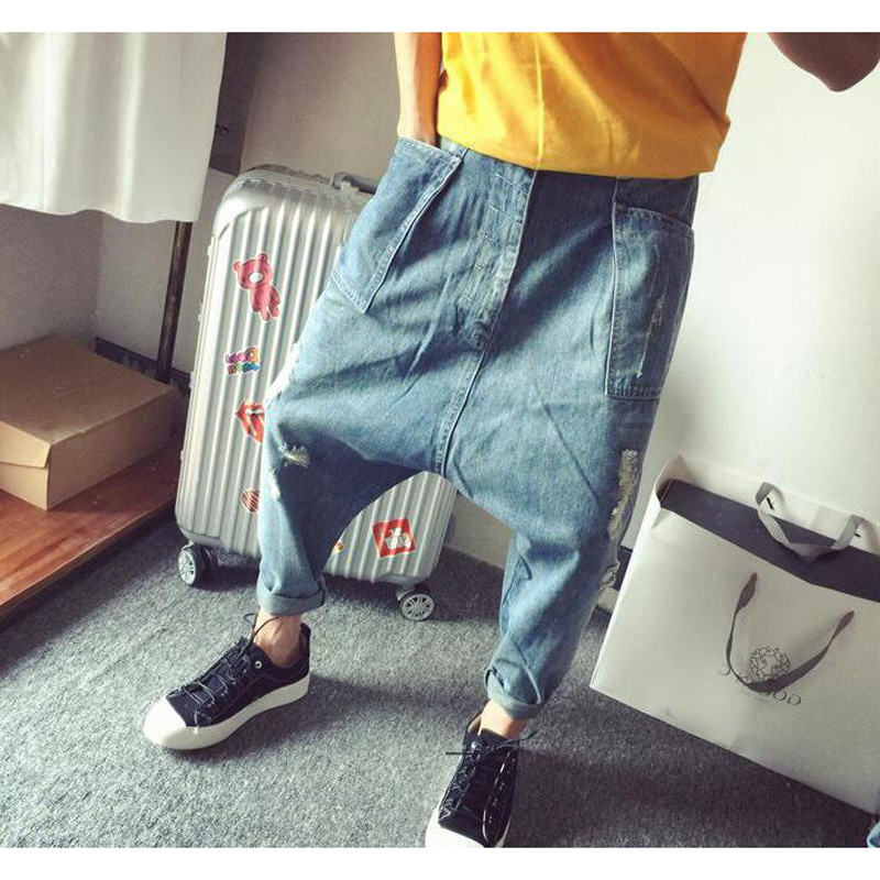 Loose Baggy Jeans Men's Casual Denim Pants Hip Hop Harem Jeans Trousers Blue Plus Size