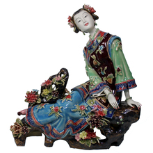 Antique Chinese Lady Ceramic Statue of Le Xiaoyao Pure Manual Figure Figurine Sculpture Crafts Collectible Porcelain Gifts