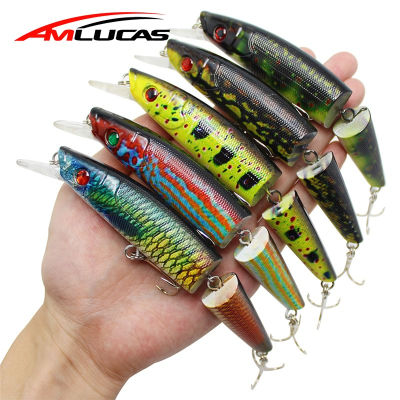 Amlucas 14cm 21.5g Minnow Fishing Lure Multi Jointed Sections Hard Baits Artificial Fishing Wobblers Crankbaits Tackle WW45