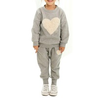 Spring Autumn Love Clothing Kids Girls Clothes Sets Baby Girl Long Sleeve Pant Set Children Love