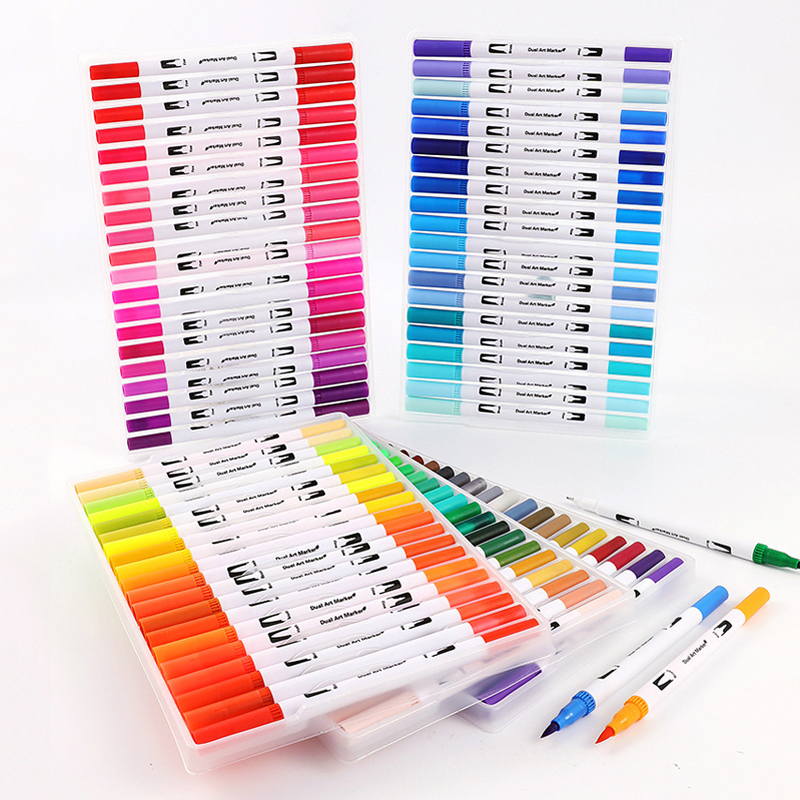 12/18/24/36/48/72/100 Colors Dual Brush Art Markers Pen Fine Tip And Brush Tip Watercolor Pens For Drawing Painting Stationery