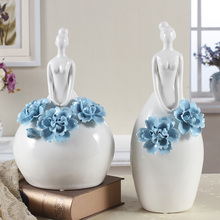 Pretty girl ceramic ornaments decoration wedding gift living room tv cabinet home decoration crafts