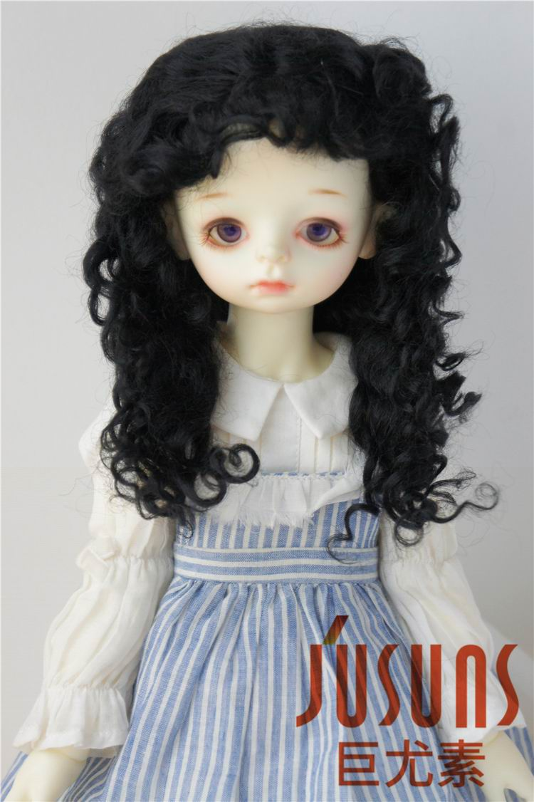 "1//3 bjd 9-10/"" doll head carrot real mohair curly wig Pullip Soom D28002 Ship US"
