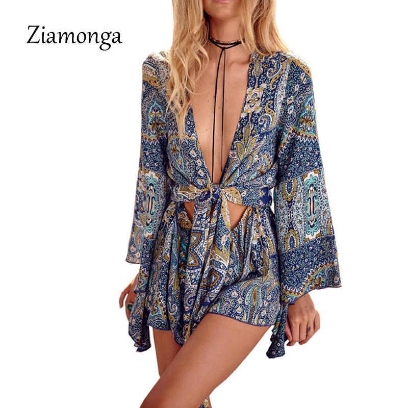 Ziamonga macacão sexy com gola v feminino, macacão estampa floral com laço elegante para o verão de 2017 macacão curto