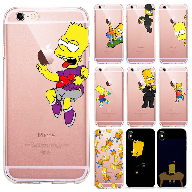 huge selection of 4c8b9 3ff60 US $0.97 27% OFF|O Simpson iPhone Case Para iPhone 4 5 6 7 8 Plus X R Max  Bart Simpson Claro listra macio Duro Matte tampa Fazer Telefone Coque-in ...