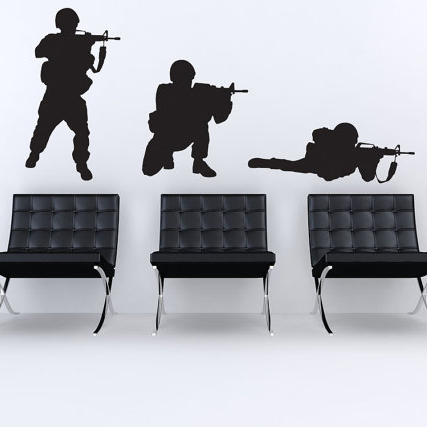 3D Soldier Wall Sticker Soldier Wall Decal DIY Decorating Modern Vinyl Wall Art Removable Wall Decoration S25(China)