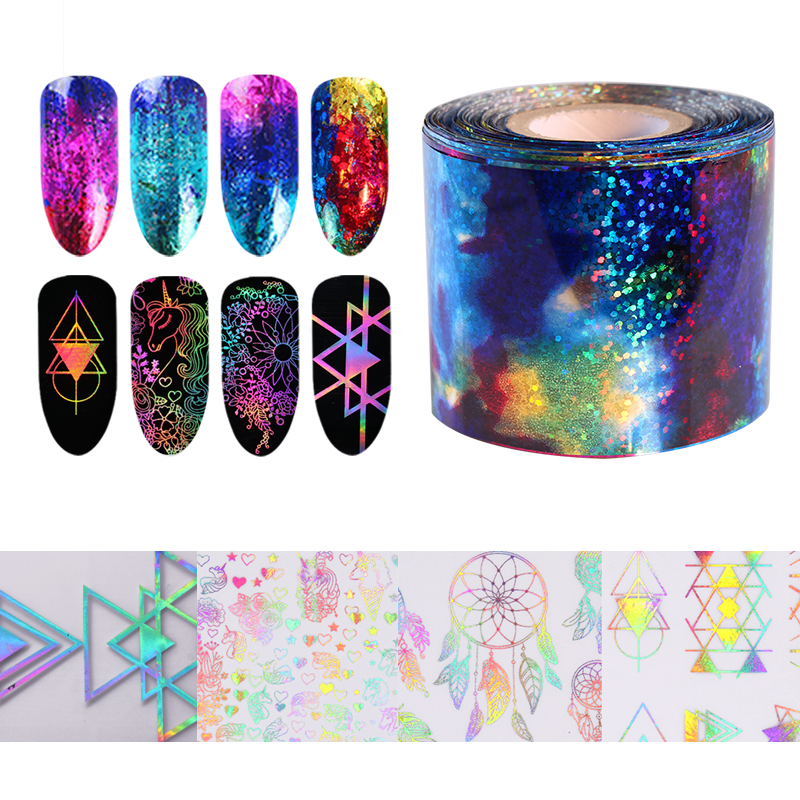 Unicorn Gradient Starry Sky Nail Foil Nail Sticker Blue Holographic Paper Decor Manicure Accessories 1 Roll Nail Art Decals 9 rolls colorful flower nail foil 4 100cm holographic starry full fingernail manicure nail art transfer sticker
