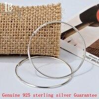 Leo Bon 60mm Duże Kolczyki Hoop 925 Sterling Silver Hoop Kolczyki dla Kobiet Dziewczyn Prawdziwa Biżuteria