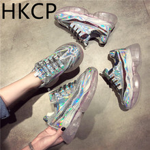 HKCP Female 2019 new student shoe all-purpose match crystal bottom han edition sequin female recreational sneaker C449