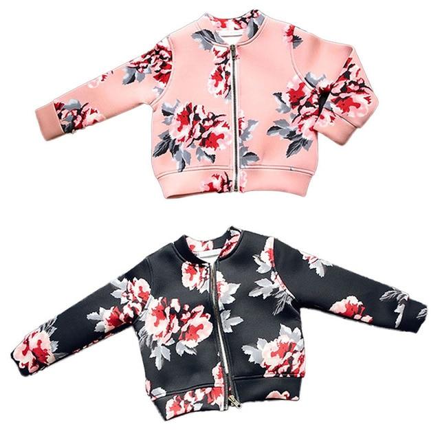 Весна Осень Малышей Девушки Outerwears Дети Девушки Пальто Цветочный Печати С Капюшоном На Молнии Девушки Куртка С Длинным Рукавом Пальто
