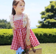 2017 Summer Little Girls Dresses Fly Sleeve Baby Clothes Princess Plaid Elastic Lace Child Kid's Dress Kids Clothes, Blue/Red