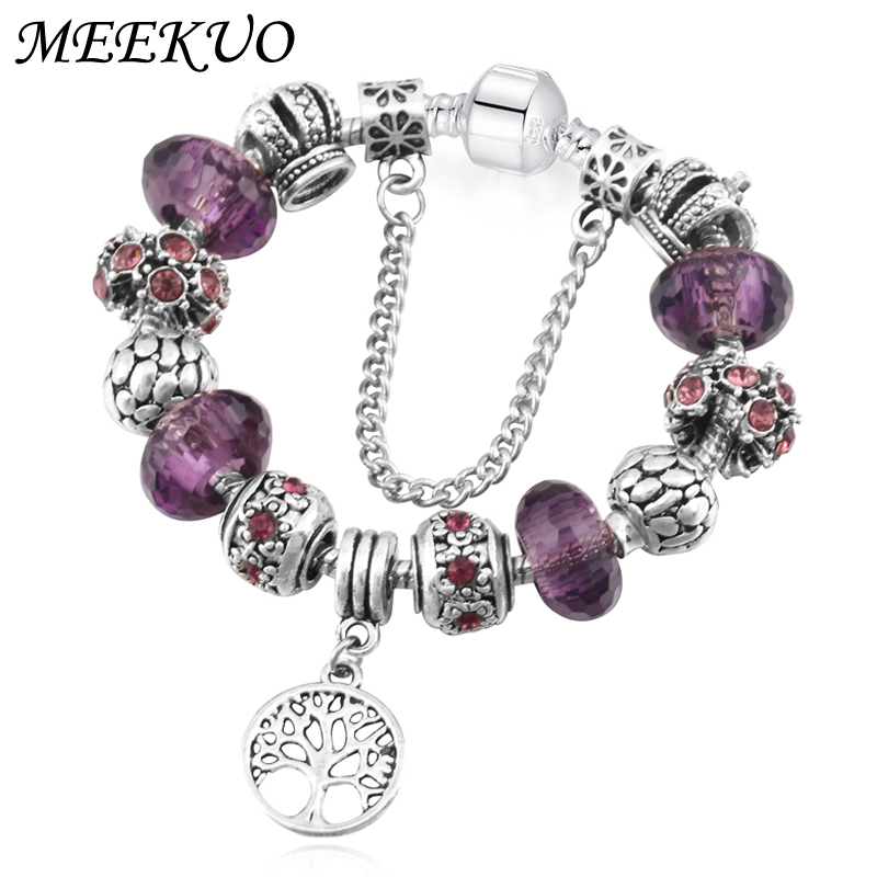 MEEKUO Vintage Silver Pandora Bracelet&Bangle with Tree of life Pendant & Three color Crystal Ball charm bracelets for women
