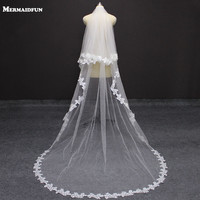 100 Real Photos 2 Layers Flower Lace Edge Wedding Veil With Blusher Gorgeous 2 T Long