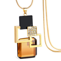 Women Girls Crystal Square Pendant Necklace Sweater Chain Necklace
