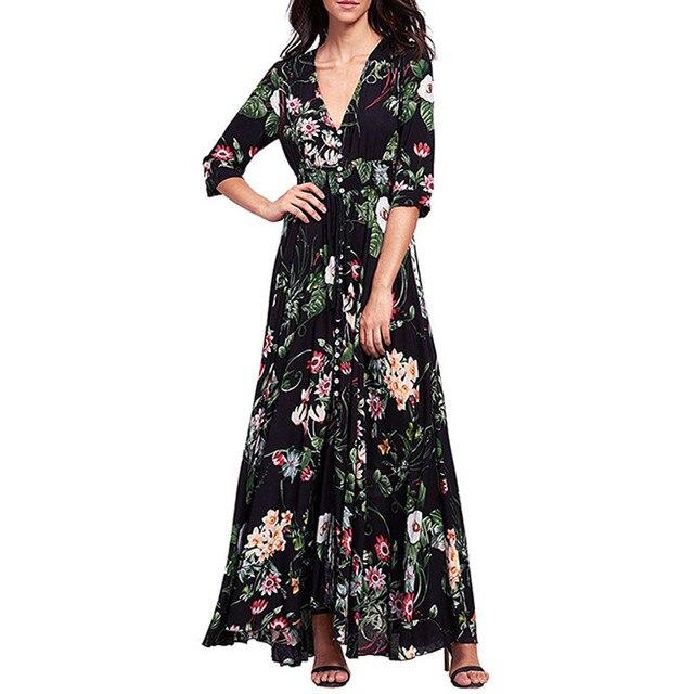 84ea154379 2018 Vintage Women Bohemian Floral Printed Maxi Dress Summer Elegant Ladies  V-neck 3/