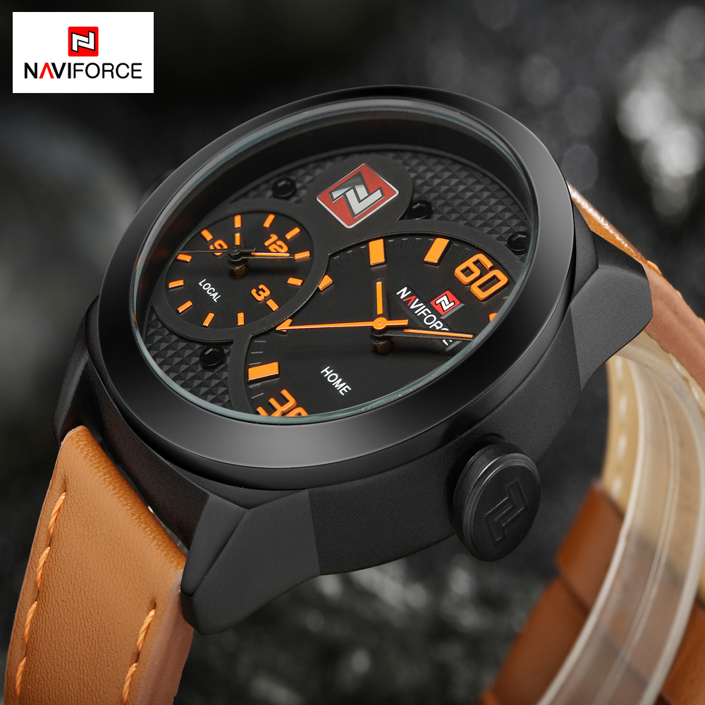 NAVIFORCE Luxury Sport Men's Watches Dual Time Men Quartz Watch Leather Strap Waterproof Casual Male Clock Relogio Masculino