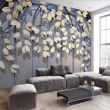 Wallpaper vintage wrought iron golden leaf 3d stereo modern TV background wallpaper mural high-grade waterproof material