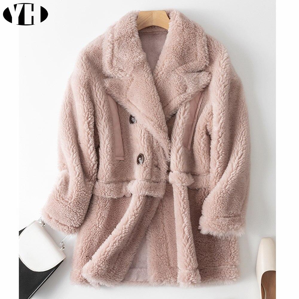 Moutons Veste Rose Tissu 2018 Femmes Nouveau Composite Tonte De Manteau Des pink Chaud Cisaillement Couche Nouvelle Hiver Arrivée Épais Fourrure White xWtWn