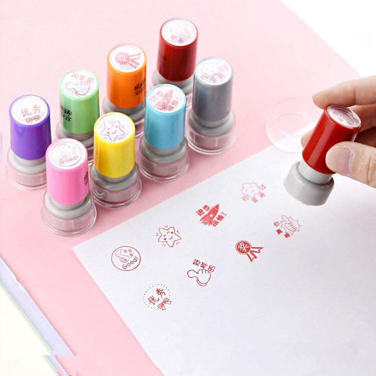 De tinta escuela maestro Escuela escuela niños regalo sello dibujos animados niños plástico sello fotosensible personalizado