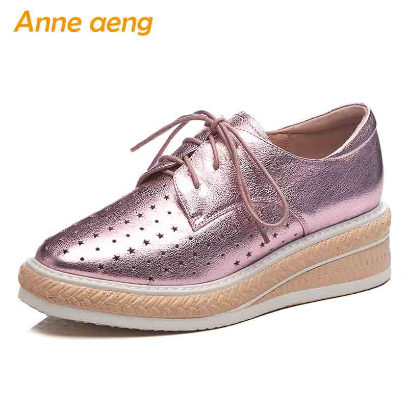 2019 New Spring/Autumn Genuine Leather Women Pumps Middle Wedge Heel Lace-Up Fashion Casual Women Platform Shoes Pink Pumps