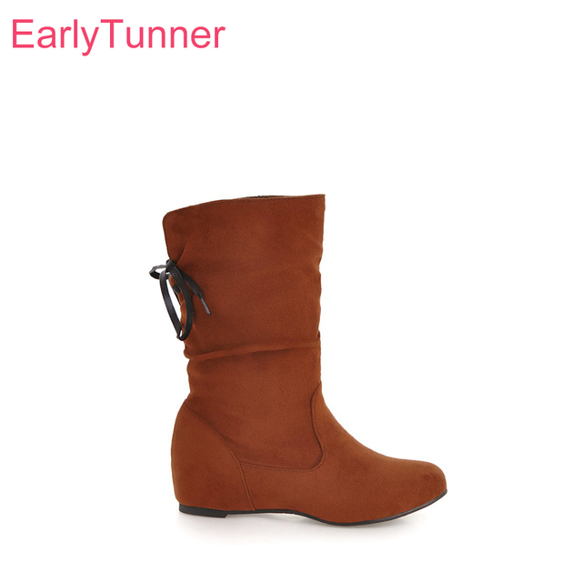 4b3fce473c7e9 Brand New Comfortable Black Green Women Mid Calf Slouch Boots Lady Casual  Shoes Wedge Heels EL181 Plus Big Size 10 30 45 50
