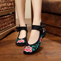 Hot sale summer Vintage ladies flats shoes Chinese style fashion lotus flower embroidered women's flats casual shoes