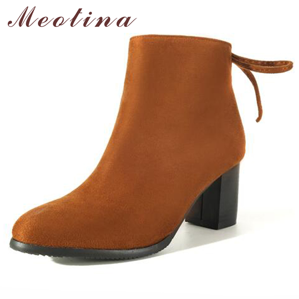 Meotina Women Ankle Boots Winter High Heel Boots Block Heels Bow Short Boots Plus Size Ladies Short Shoes Red Black Blue Size 43 цена 2017