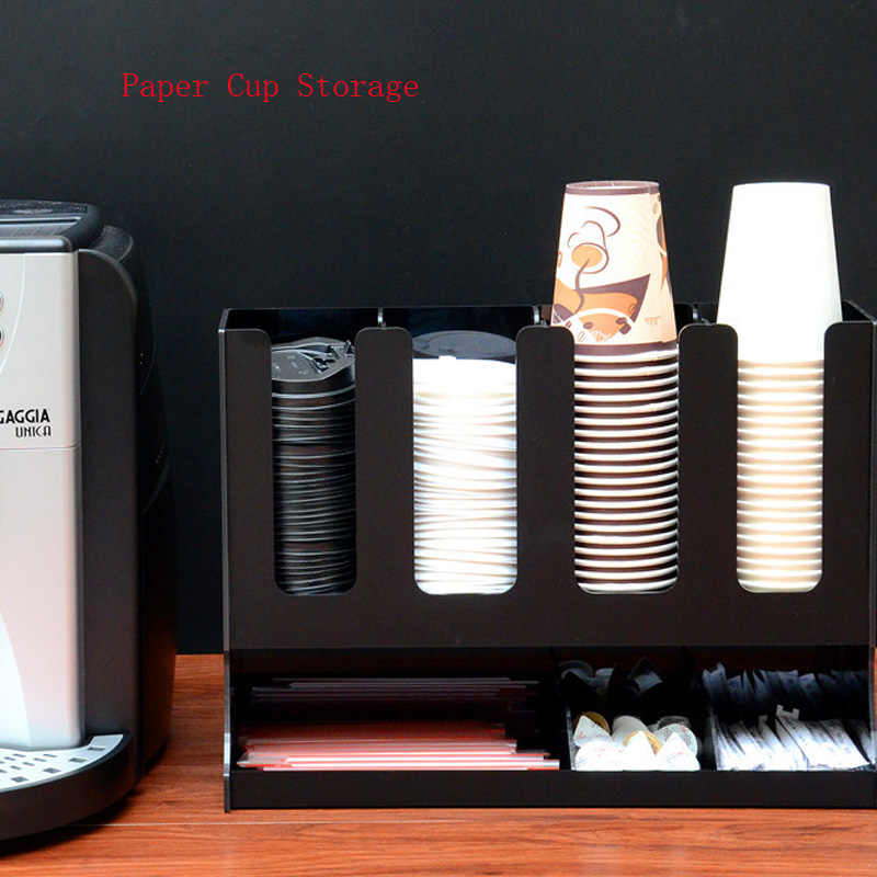 Acrylic Black/White Cup Storage Paper Cup Holder Coffee Cup Lid Storage Rack Take-up Cup Storage Rack Straw/Sugar Organizer