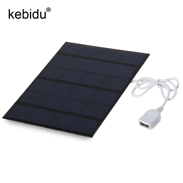 Kebidu Partical USB Solar Panel Battery Charger 5V 3.6W Power Bank with LED Light Fashion Solar USB Charger