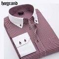 Hee grand 2017 nueva primavera hombres despojado camisas de negocios ocio turn-down collar completo de la manga camisa mcl1773
