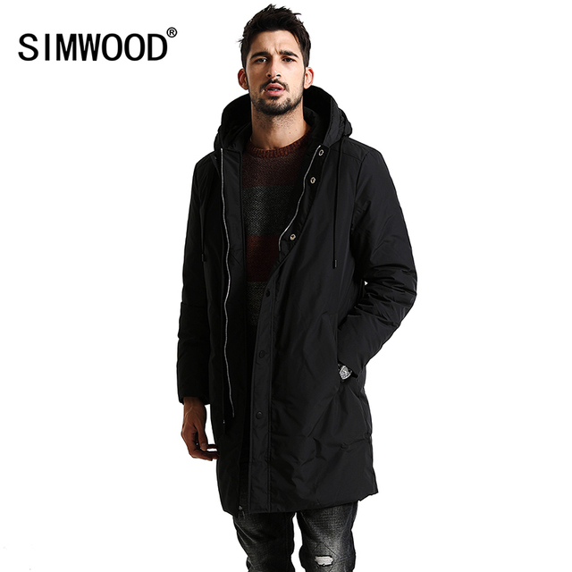 SIMWOOD White Duck Down Jacket Men New 2016 Winter Spring  Coats Warm Long Parkas  YR1004