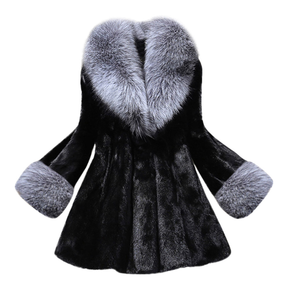 Klv 1pc Women Coat Polyester Autumn Winner Long Section Of Imitation Mink Fox White Black Coat With Cap Fur Printing Coat Z1126 Regular Tea Drinking Improves Your Health