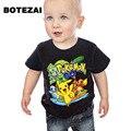 3-10Y 2017 Nuevos Muchachos T Shirt Pokemon Ir Los Niños de Dibujos Animados Pikachu Camisetas Para Niños Niñas de Algodón Tops Niños ropa