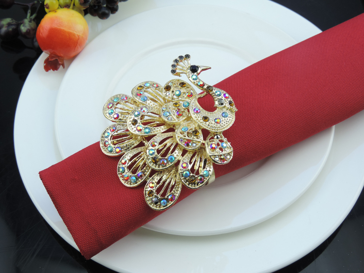 10pc Peacock napkin rings colored diamonds napkin buckle home hotel restaurant model room decorations wedding table decoration