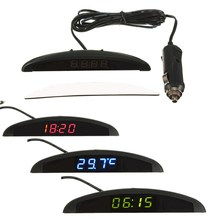 KROAK 3 in 1 Car Digital Auto Thermometer Voltmeter Clock Volt Temperature Monitor 12V(China)