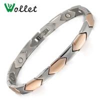 Fashion Jewelry Healing 20 5cm Rose Gold Color Bio Magnetic Pure Titanium Bracelet For Women
