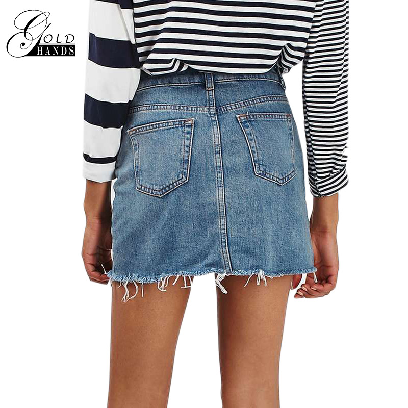 da0824ebf Gold Hands New Irregular Short Slim washed Mini Skirt Fashion Buttons Fold  Dark Skirt Jeans Whimsy Casual Style Event Discount-in Skirts from Women's  ...