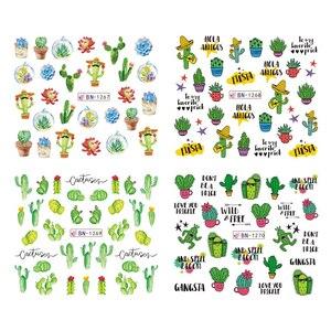 Image 5 - 12 Designs Cactus Water Decals Nail Sticker Green Plant Leaf Watermark Flakes Slider Tattoo Nail Art Decoration LABN1261 1272 1