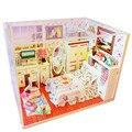 Творческий Деревянный Кукольный Дом Мебель DIY Кукольный Домик Миниатюре Сборки Игрушки для Подарков ребенка, Смешные Куклы Ручной Работы Дома