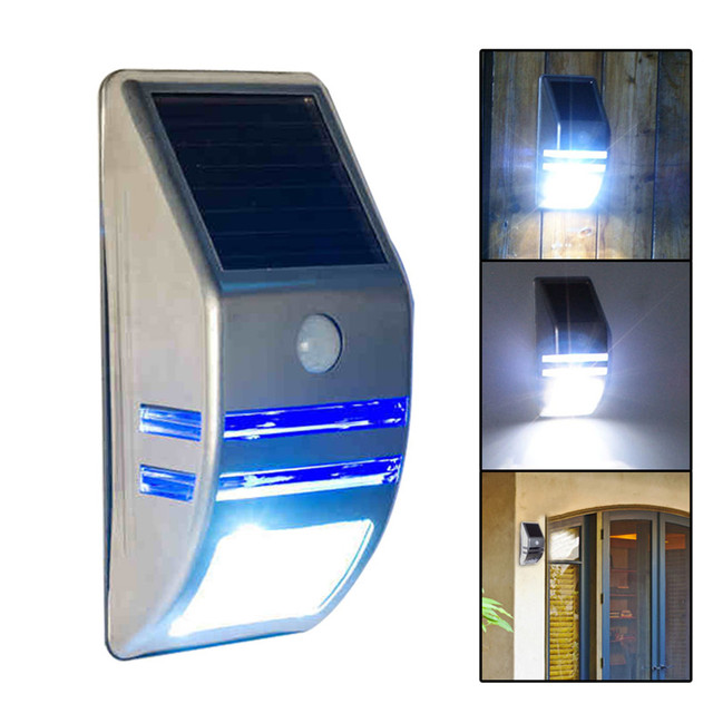 Leds Outdoor Solar Motion Sensor Pir Security Wall Light Path Post Lamp Easy Install And Water