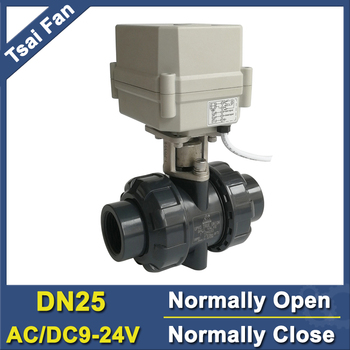TF25-P2-C AC/DC9V-24V PVC 1'' DN25 Power Fail Return Normally Open / Close Valve BSP or NPT Thread 10NM On/Off 15 Sec Metal Gear