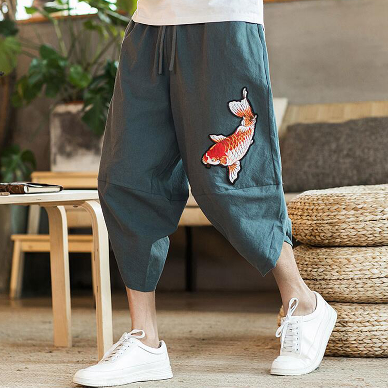 Mens 2019 New Beach Pants Male Summer Casual Calf-Length Pants Man Carp Embroidery Baggy Loose Trousers