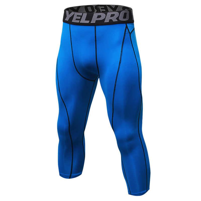 Мужские компрессионные брюки 3/4 шорты-капри Baselayer спортивные колготки мужские Спорт Бег Велоспорт Фитнес Леггинсы уличная спортивная одежда