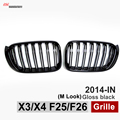X3 F25 Front Grill X4 F26 ABS Front Kidney Dual Slat Mesh Grille for BMW 2014 + X Series SUV X3 F25 and X4 F26 Gloss Black