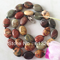 European style Picasso cute Jasper 10x14mm natural stone oval beads diy classical Necklace making 18'' MY3362