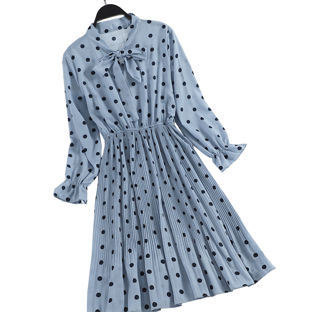 Polka Dot Dress White Chiffon Dress Women Boho Long Sleeve Dresses Robe Femme 2019 Spring Clothes Korean Vestidos Elegant Tunic