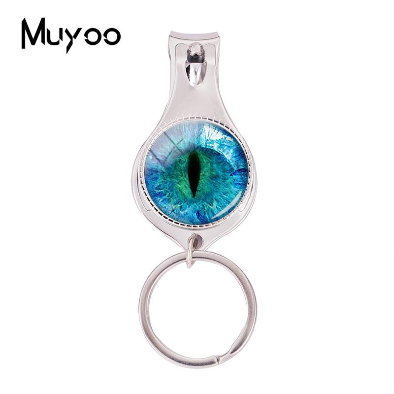 2018 Fashion Blue Dragon Eye Multifunctional Keychain Evil Eyes Nail Clipper Keyring Art Hand Craft Jewelry Glass Nail Clippers